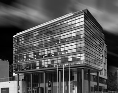 Office building - BW (Ciddi Biri) Tags: office modernarchitecture building blackandwhite monochrome windows glass working business job finance 1442iir omdem10 m43turkiye olympusturkiye olympustürkiye sky
