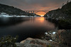 Two bridges and a fjord (markgreensabroad) Tags: landscape norway fjord sunset bridge border sweden travel colour beautiful peaceful golden hour ice rocks trees sea