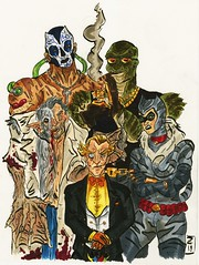 Team Penguin (Lord Allo) Tags: dc art batman villain villains bane killer croc waylon jones kirk langstrom man bat selina kyle catwoman oswald cobblepot penguin copic marker micron pen