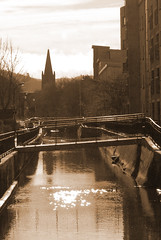 DSC_2088a (daviemoran1) Tags: milllade church spire water sun sparkle bridge urban reflection perth scotland sepia mono stpauls buildings