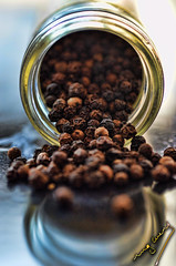 Pepper (ingcuevas) Tags: bottle glass pepper brown colors bright dark small tiny transparent yellow food texture round spice