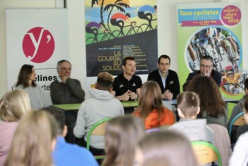 Rencontres de Sandy Casar et Thomas Voeckler au collège Georges Brassens à Saint-Arnoult-en-Yvelines
