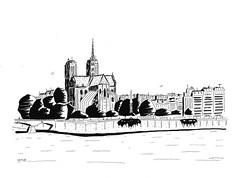 Notre Dame de Paris (J-M.I) Tags: art house architecture watercolour dessin illustration graphisme artiste exposition paris notre de dame