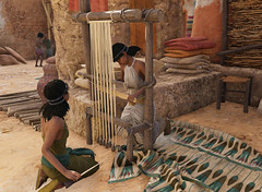 Only women were allowed to weave cloth in Ptolemaic Egypt as depicted here in Assassin's Creed Origins Discovery Tour (mharrsch) Tags: weaver cloth tapestry loom weaving ancient egypt ptolemaicperiod ubisoft assassinscreedorigins discoverytour game videogame mharrsch