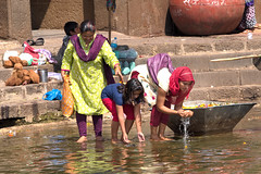 Three Generations Cleansing with Holy Water at Godavari River Nashik, India. (Journey CPL) Tags: family cleansing holy river water indian woman girl grandma nashik india asian asia ethnic religious religion