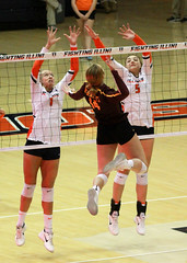 Leap (RPahre) Tags: volleyball b1g huffhall huff champaign illinois swing block universityofillinois universityofminnesota minnesota jordynpoulter alibastianelli brittanymclean