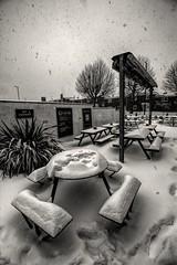 'Smokin' (Jon_Wales) Tags: smoking shelter wtherspoons johnfielding cwmbran wales welsh wymru snow beastfromtheeast