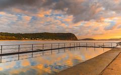 Sunrise Seascape and Sea Pool (Merrillie) Tags: daybreak sunrise seapool nature dawn reflections rocky centralcoast morning sea newsouthwales rocks pearlbeach nsw water waterscape ocean earlymorning landscape cloudy coastal clouds outdoors seascape australia coast sky waves