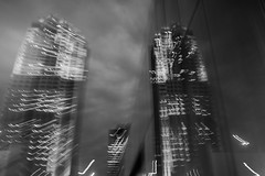 Skyline Reflection - 19/100 X (mfhiatt) Tags: 100xthe2018edition 100x2018 image19100 blur oof outoffocus icm intentionalcameramovement downtown desmoines iowa skyline reflection