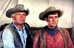"""Terry Wilson and Robert Fuller in """"Wagon Train."""" (stalnakerjack) Tags: westerns hollywood television tv terrywilson robertfuller wagontrain"""