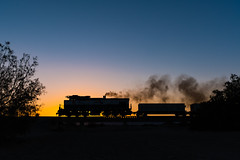Narrow Gauge at Sunset (jameshouse473) Tags: sunset desert mlw alco bombardier gypsum us dry wash smoke exhaust narrow gauge