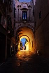 Malta Streets (Douguerreotype) Tags: bridge arch dark light night buildings city malta architecture valletta street urban