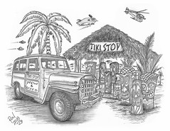 Tiki Stop (rod1691) Tags: tiki tikiart tikibar myart art sketchbook bw scifi grey concept custom car retro space hotrod drawing pencil h2 hb original story fantasy funny tale automotive illistration greyscale moonpies sketch sexy