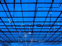 The Far Wall (Steve Taylor (Photography)) Tags: art design window museum blue black contrast glass metal uk gb greatbritain england unitedkingdom london lines perspective sciencemuseum tubing
