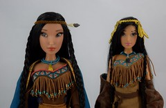 Pocahontas Limited Edition 16 Inch vs Designer Fairytale 11 1/2 Inch Dolls - Midrange Front View (drj1828) Tags: pocahontas disneystore us limitededition 16inch doll le4500 posable instore purchase 2018 collectible animated deboxed standing designer dfdc disneyfairytaledesignercollection 2014 sidebyside comparison
