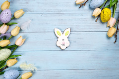 Happy Easter colorful cookies bunny on wooden blue background. (lyule4ik) Tags: easter background celebration decoration decorative egg food holiday season spring tradition wood wooden happy cookies concept design natural rustic springtime texture traditional banner biscuits card celebrate closeup eggs filter flower wishes toned sprinkles white colored letter brown nest frosting bright homemade basket horizontal april shortcrust text sweet chicken nobody bakery