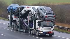 PO66 UXG (panmanstan) Tags: scania p410 wagon truck lorry commercial drawbar car transporter freight transport haulage vehicle m18 motorway langham yorkshire