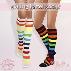 Hazel Spring Socks @ Fly Buy Fridays! (Pink Cream Pie) Tags: maitreya slink hourglass belleza freya isis original mesh pinkcreampie women fitmesh liquidmesh secondlife socks high flat spring rainbow stripes