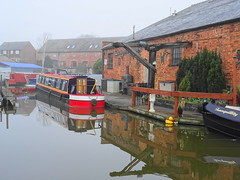 Misty-reflections (johnb/Derbys/UK) Tags: reflections myworld misty canal shardlow derbyshireuk pov colour cold walk wet water narrowboats buildings