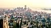 Lower Manhattan at sunset (1988) (Alexander Dülks) Tags: usa skyscraper empirestatebuiling 1988 hochhaus sonnenuntergang newyork sunset lowermanhattan worldtradecenter newyorkcity manhattan