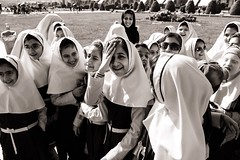 My Goodness (Tom Levold (www.levold.de/photosphere)) Tags: fuji fujixpro2 isfahan sw xf18135mm bw esfahan candid people schulklasse schulmädchen class street porträt portrait schoolgirls mädchen girls