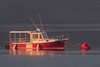 Little Red Riding Boat (Oleg S .) Tags: usa sunset water fog lubec boat reflection maine bay vehicle