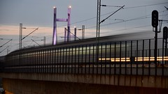 Train in motion (dtankosic) Tags: train bridge belgrade beograd sava serbia architecture moving river srbija exposure sfrj night lowlight citylights