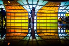 The Technicolor Phase (Thomas Hawk) Tags: america chitown chicago cookcounty illinois julia juliapeterson michaelhayden ohareinternationalairport skysthelimit usa unitedstates unitedstatesofamerica airport mrsth neon spouse wife us fav10 fav25 fav50 fav100