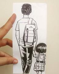 #daddy #daughter #school #love #life #stories #art #illustration #drawing #sketchbook (lipuster) Tags: childhood life kids india innocence stories art illustration sketch drawing