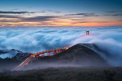Building Steam (dsafanda) Tags: red goldengate goldengatebridge sanfrancisco fog marinheadlands