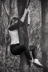 (annieczech) Tags: bnw blackandwhite canon canonphotography canoneos70d czechrepublic czechgirl cute mysterious forest climb girl blondgirl czech 50mm 50mm18 70d