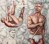 Christian Montone - Vaudelesque One: Sunbathers (In Progress) (Christian Montone) Tags: art drawing painting men muscle vintagemidcentury mixedmedia gay gayart montone christianmontone beefcake inprogress workinprogress
