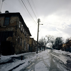 Old road (dmitriy.marichev) Tags: rollei rolleiflex rolleiflex35fmodel3typek4f rolleiflex35f street city car old house film mf medium 6x6 square planar 35 zeiss color kodak ektachrome transparency dmitriymarichev kiev ukraine kodakepp120ektachrome100pluscolorslidefilm