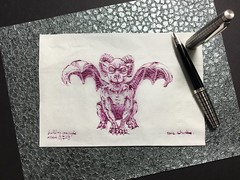 Napkin gargoyle No. 3 (schunky_monkey) Tags: fountainpen penandink ink pen illustration art napkinsketch napkin drawing draw sketching sketch creature building architecture statue gargoyle