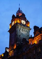 The Balmoral Clock at Dusk (p.mathias) Tags: scotland sony a5100 uk united unitedkingdom europe history historical historic architecture building buildings bluesky edinburgh exterior hotel clock tower balmoral sky csc