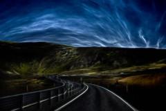 From Iceland. (Tóta. 27.12.1964.) Tags: landscape clouds sky mountain grass cars road hellisheiði iceland ísland
