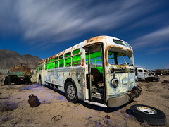 Pop quiz, hotshot (Nocturnal Bob) Tags: owensvalley california ca abandoned white bus junk yard night light painting long exposure sony a7r voigtlander super wide heliar 15mm f45 aspherical iii lens vm protomachines radium led6