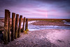 12th March 2018 (Rob Sutherland) Tags: bardsea beach morecambe bay sea stream river posts wooden stone gravel sunset sun evening light ulverston cumbria cumbrian britain british england english uk