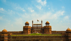 India Red Fort (mraderstorf) Tags: grass blue flag delhi redfort birds sky green india red clouds architecture tower building landscape wall stone hot oven explored muhgal royal majestic castle