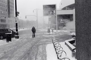 Man on wintry street, Hamilton
