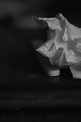 crumpled facial tissue, emory board, table top, Asheville, NC, Nikon D3300, mamiya sekor 80mm f-2.8, 3.1.18 (steve aimone) Tags: tissue facial crumpled emoryboard tabletop asheville northcarolina nikond3300 mamiyasekor80mmf28 mamiyaprime primelens blackandwhite monochrome monochromatic