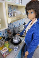 10. Making hot cocoa (Foxy Belle) Tags: kitchen miniature barbie vintage doll 16 scale diorama food blue white american girl delft tin sweater kettle tea mug rement