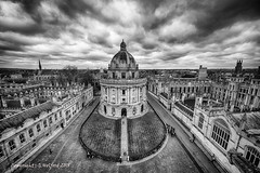 Oxford from the Bell Tower (Holfo) Tags: oxford architecture highup nikon d750 dome road tower monochrome sky hdr panoramic wide midlands uk cityscape buildings domed stormy england britain wonderful oxfordshire high overlooking elevated top round windows wow towering shaped gb britannia fab fabulous scene scenic