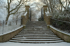 Snowy steps at Halsam Park (Tony Worrall) Tags: preston lancs lancashire city england regional region area northern uk update place location north visit county attraction open stream tour country welovethenorth nw northwest britain english british gb capture buy stock sell sale outside outdoors caught photo shoot shot picture captured ashtononribble ashton steps winter freeze chill snow covered climb haslampark park