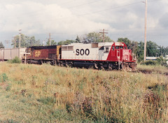 Shimmer in the Sunset (MILW157) Tags: sp soo line southern pacific hartland watertown sub sunset sd60 train railroad
