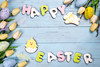 Happy Easter colorful lettering Happy Easter of ginger biscuits and cookies bunny on wooden blue background. (lyule4ik) Tags: easter background celebration decoration decorative egg food holiday season spring tradition wood wooden happy cookies concept design natural rustic springtime texture traditional banner biscuits card celebrate closeup eggs filter flower wishes toned sprinkles white colored letter brown nest frosting bright homemade basket horizontal april shortcrust text sweet chicken nobody bakery
