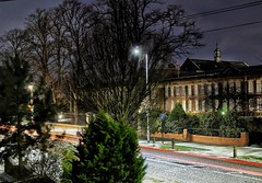 Wintry light trails!😁👍😁 (LeanneHall3 :-)) Tags: lighttrails longexposure street streetlamps buildings houses maletlamberthighschool lights snow winter landscape canon 1300d night nightshot nightphotography