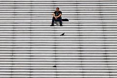A moment for yourself (Rosetta Bonatti (RosLol)) Tags: roslol rosettabonatti paris parigi stairs steps france francia street streetphotography man uomo sitting defense ladefense graphic candid pigeons
