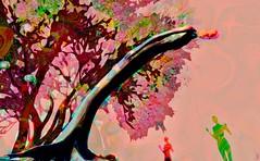Tree fairy / Artist : Mistero Hifeng (Bamboo Barnes - Artist.Com) Tags: art installation surreal woman vivid digitalart virtualart bamboobarnes light shadow manipulation texture misterohifeng tree fairy red pink green landscape