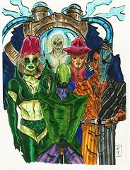 Team Riddler (Lord Allo) Tags: dc art batman villain villains riddler poison ivy twoface clayface mister freeze copic marker micron pen